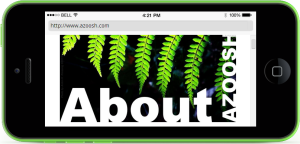 Black new iphone5 simulator screen shot test about Azoosh.com website green tree fern leaves