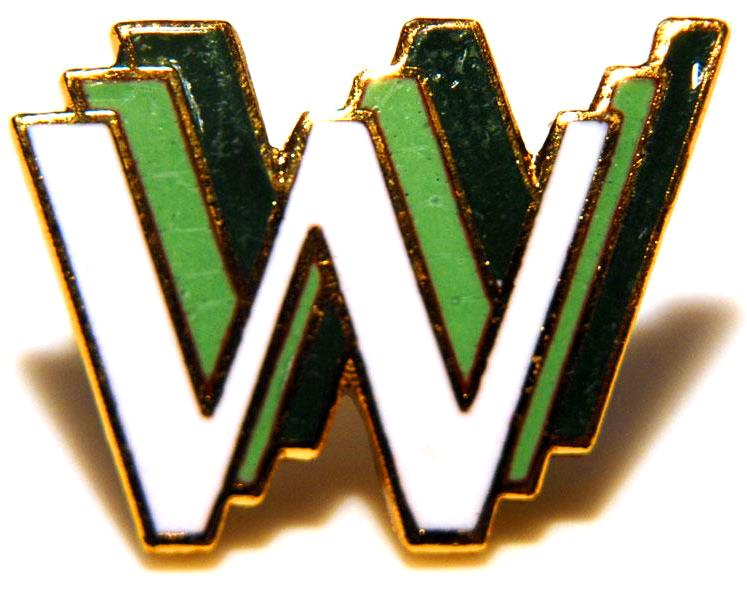 WWW Logo pin badge 1st World Wide Web conference designed by Robert Cailliau collectable gold metal edge green enamel