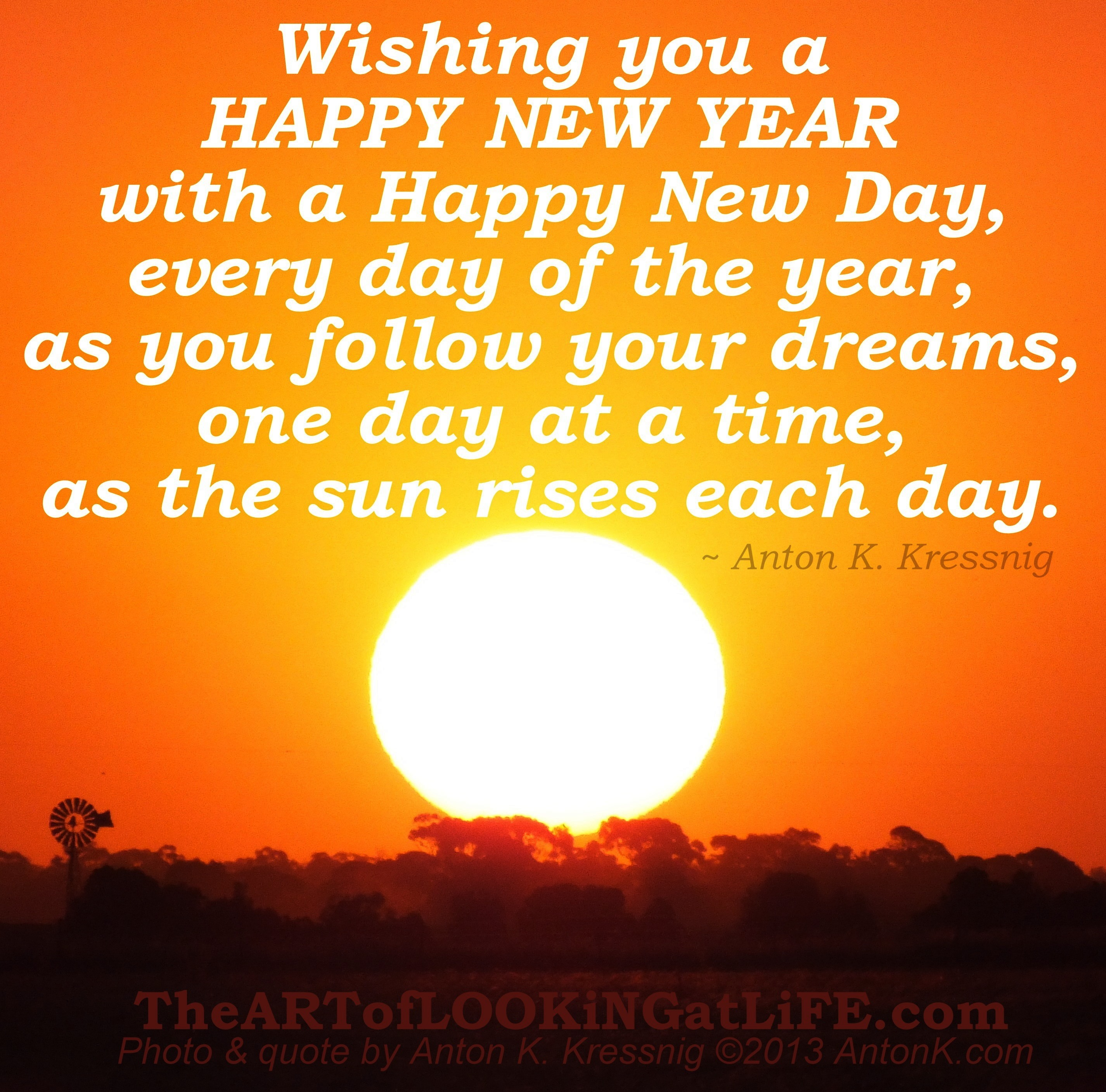 Wishing you Happy New Year Day follow dreams sunrises inspirational message quote meme Australian photo image