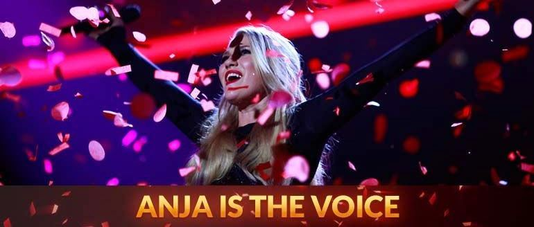 Anja Nissen is The Voice winner 2014 won Australian best singer TV competition celebration purple photo banner