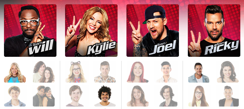 The Voice Australia 2014 finals coaches Team Will I am Kylie Minogue Joel Madden Ricky Martin photos