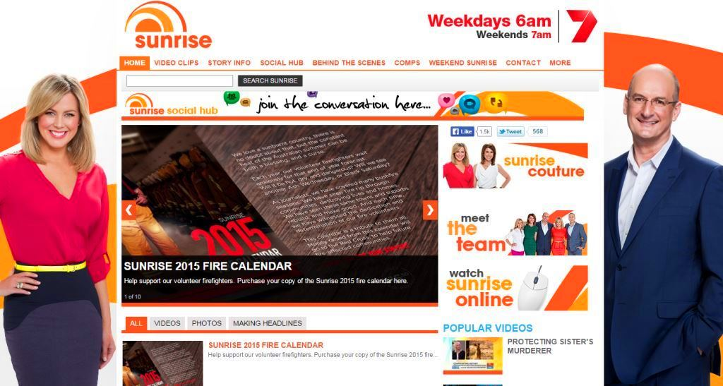 Sunrise official website Yahoo7 TV breakfast weekday show hosts Samantha Armytage David Koch Kochie 2015 Fire Calendar screenshot