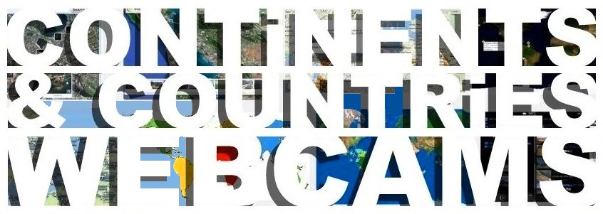Continents & Countries Webcams header cover banner bold white type heading