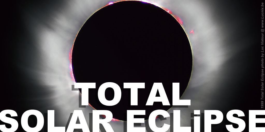 Total Solar Eclipse 1999 France photographic image by Luc Viatour colour sun flares black space sky banner header