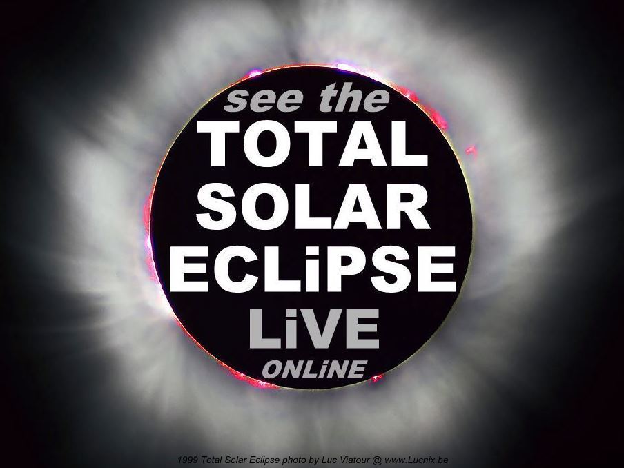 see the Total Solar Eclipse live video streaming 1999 France photographic image Luc Viatour colour sun flares black space sky type