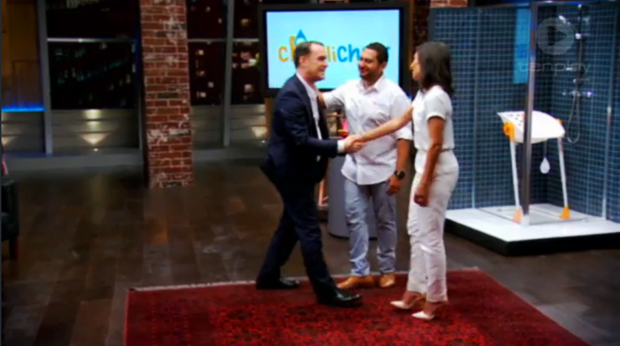 Shark Tank TV John McGrath deal Hani & Meray Yasa CharliChair series1 handshake Sunday 12 April 2015 Australian Channel TenPlay