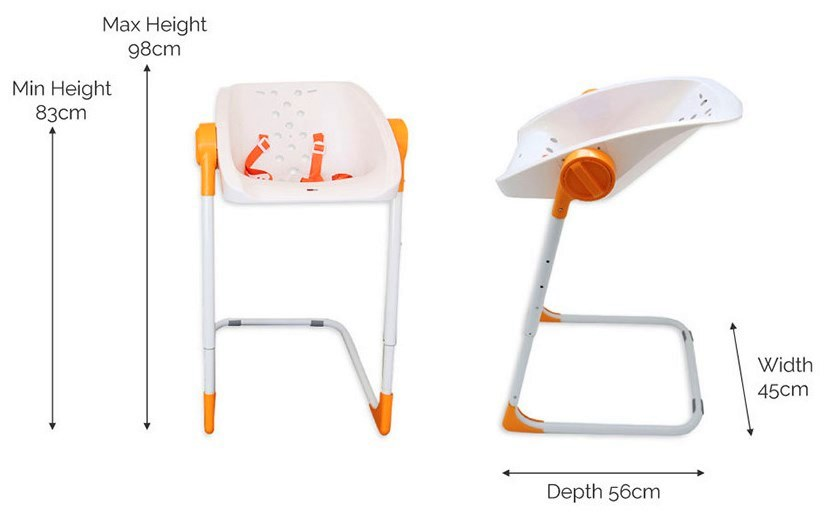 CharliChair baby showering high chair dimensions height width depth measurements photo diagram