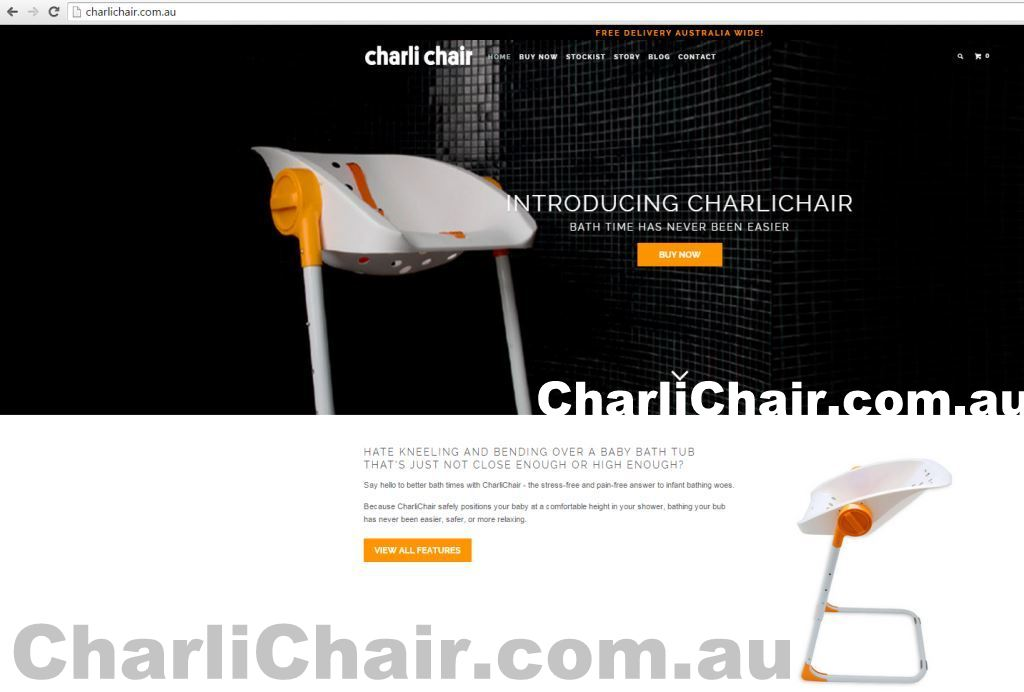 CharlieChair official website introducing Charli Chair bath time easier buy now stockists story blog 2015 screenshot photos type