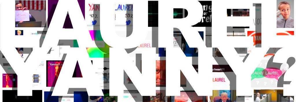 Laurel & Yanny photo images big bold white type feature ...